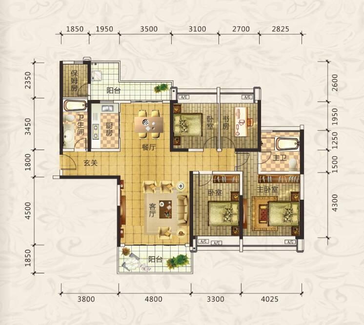 合生上观国际六期169㎡4房户型