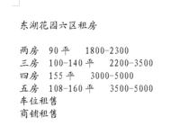 东湖花园六区租房 两房到五房 1500-4500 欢迎来电咨询