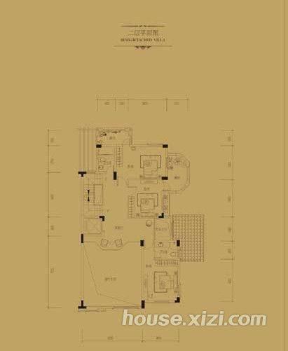 双拼别墅二三层平面图