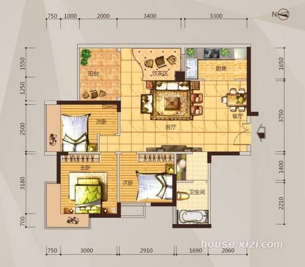 05-06户型三房两厅一卫-89平米
