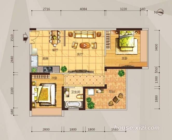 03户型两房两厅-75平米