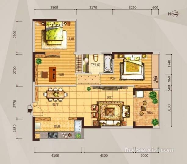 02户型两房两厅-91平米