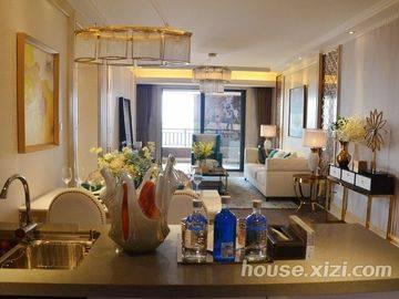 中洲天御-样板房-厨房+餐厅+客厅