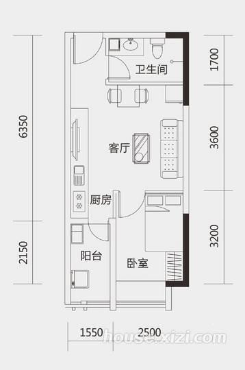 大隆财富广场46平米A户型