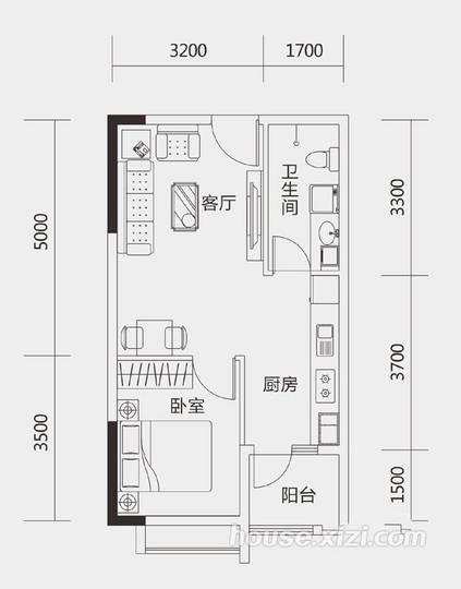 大隆财富广场55平米B户型