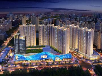 鑫月广场·欢乐海湾商业广场鸟瞰夜景图