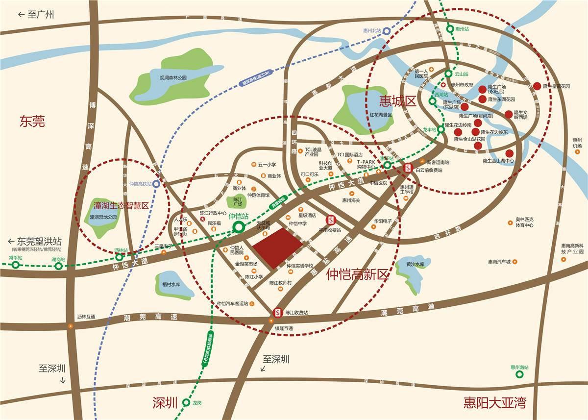 隆生·仲恺花园交通图