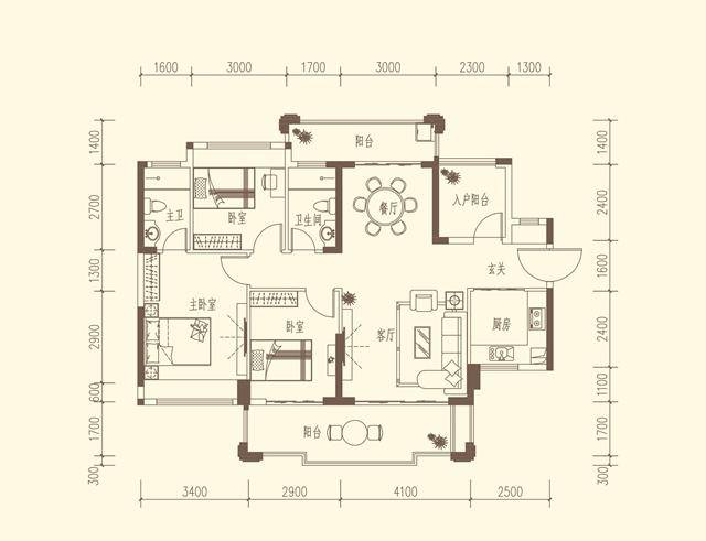 D1户型  约120-122㎡ 3房2厅2卫
