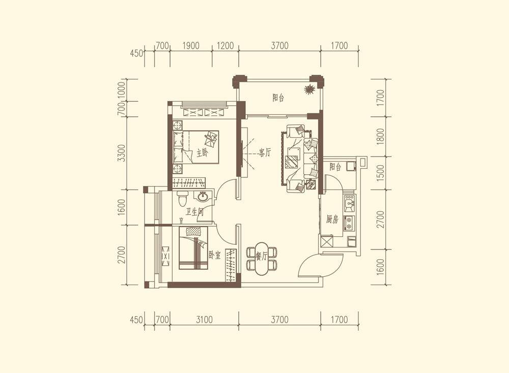 A1户型 约78-81㎡ 2房2厅1卫