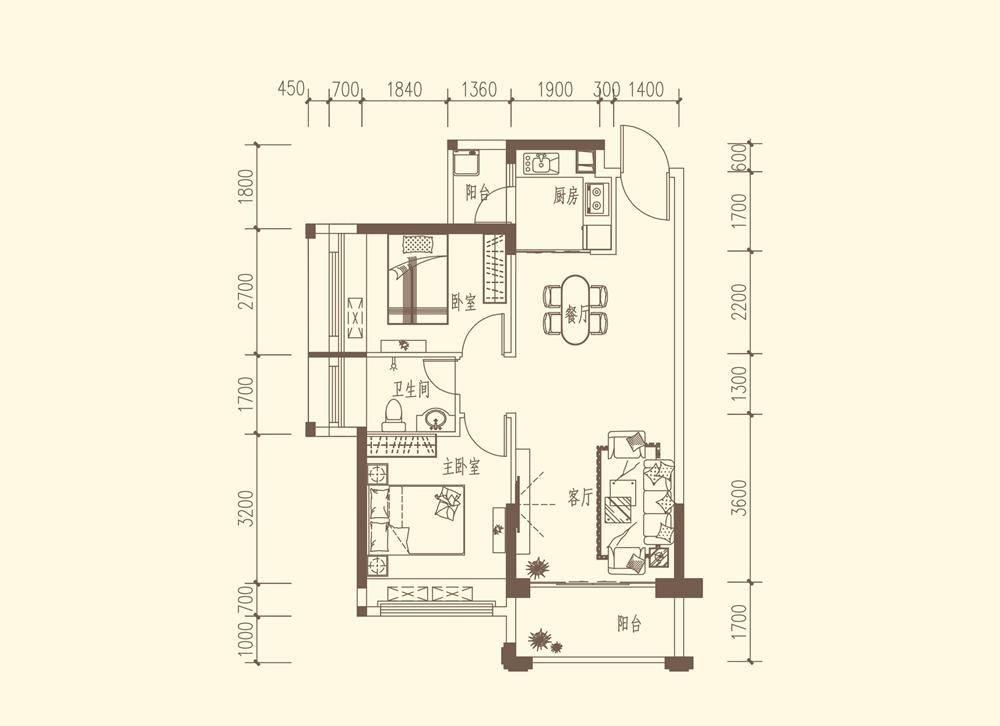 A2户型约78-81㎡ 2房2厅1卫