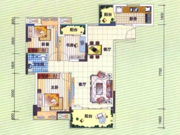 市中心港惠新天地斜对面华晟豪庭南北通标准三房两厅出售