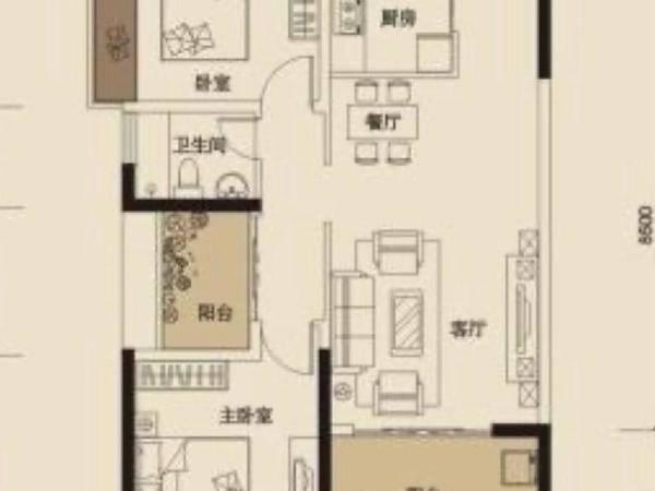 世纪金湖中锴华章精装修3房中高楼层对面沃尔玛