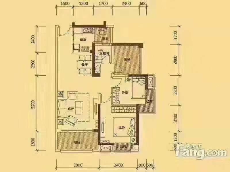 出租 中信凯旋城 精装3房 朝南 拎包入住 全新装修 好楼层 钥匙在手